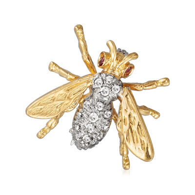 C. 1980 Vintage .25 ct. t.w. Diamond Bee Pin with Ruby Accents in 18kt Yellow Gold, , default