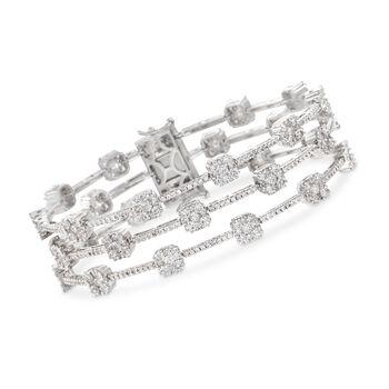 "9.75 ct. t.w. Diamond Three-Row Station Bracelet in 18kt White Gold. 7"", , default"