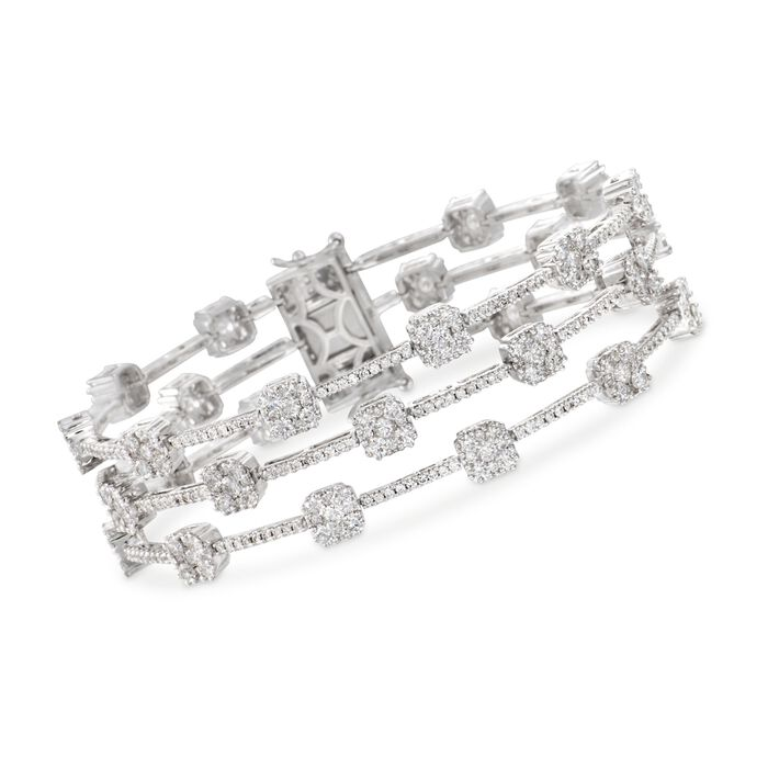 "9.75 ct. t.w. Diamond Three-Row Station Bracelet in 18kt White Gold. 7"", , default"