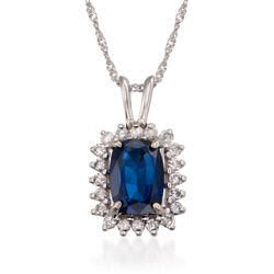 1.15 Carat Sapphire and .15 ct. t.w. Diamond Pendant Necklace in 14kt White Gold, , default