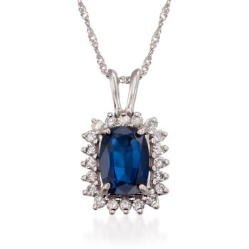 "1.15 Carat Sapphire and .15 ct. t.w. Diamond Pendant Necklace in 14kt White Gold. 16"", , default"