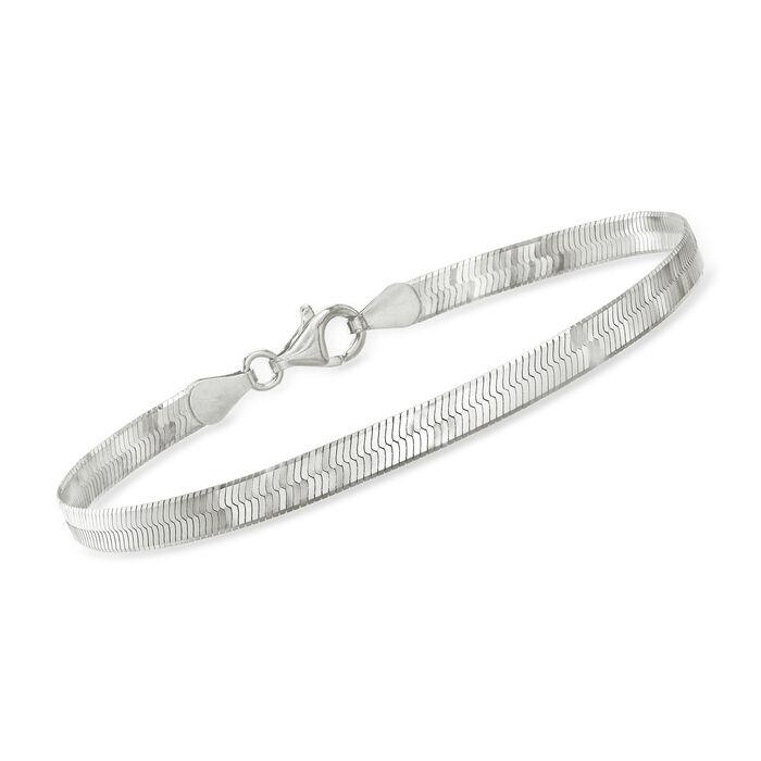 Italian Sterling Silver Herringbone Bracelet