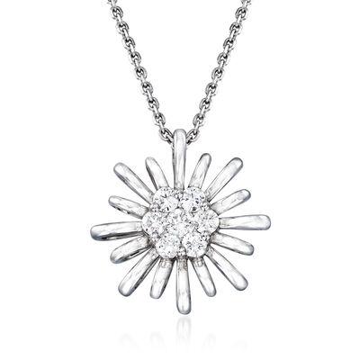 C. 1990 Vintage Giantti .30 ct. t.w. Diamond Flower Necklace in 18kt White Gold, , default