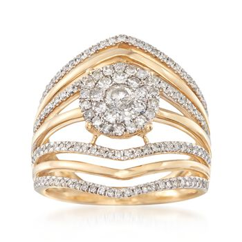 .98 ct. t.w. Diamond Cluster Illusion Ring in 14kt Yellow Gold, , default
