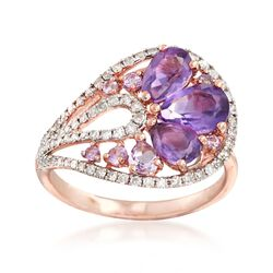 1.84 ct. t.w. Pink and Purple Amethyst and .39 ct. t.w. Diamond Ring in 14kt Rose Gold, , default
