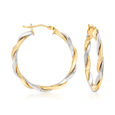 Italian 14kt Two-Tone Gold Twisted Hoop Earrings, , default