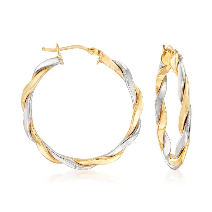 """Italian 14kt Two-Tone Gold Twisted Hoop Earrings. 1 1/4"""""""