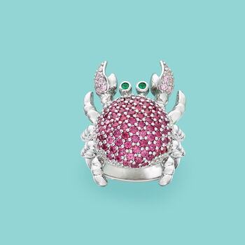 1.84 ct. t.w. Multicolored CZ Crab Ring in Sterling Silver, , default