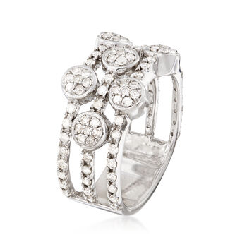 1.00 ct. t.w. Diamond Three-Row Alternating Circle Cluster Ring