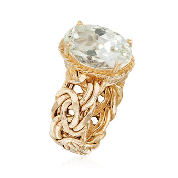 4.80 Carat Green Prasiolite Byzantine Ring in 14kt Yellow Gold, , default
