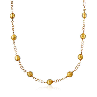 Italian Golden Murano Glass Bead Station Necklace with 18kt Gold Over Sterling, , default