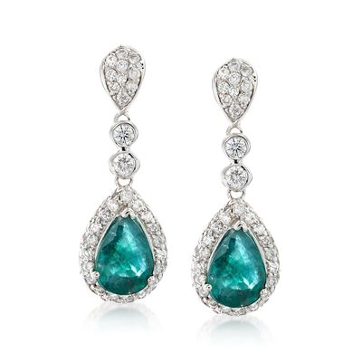 1.80 ct. t.w. Emerald and .90 ct. t.w. Diamond Drop Earrings in 14kt White Gold, , default