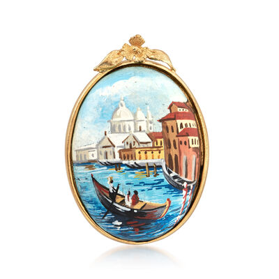Italian Lava Stone Cabochon Pin in 18kt Gold Over Sterling, , default