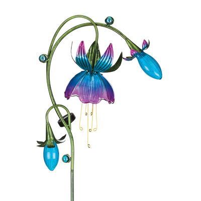 Regal Solar Fuchsia Set of 2 Pink and Blue Garden Stakes #405538