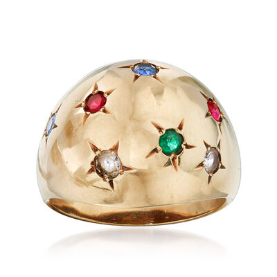 C. 1970 Vintage Synthetic Multi-Stone Dome Ring in 10kt Yellow Gold, , default