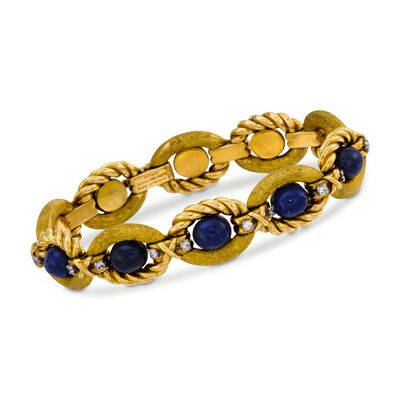C. 1970 Vintage Tiffany Jewelry 1.00 ct. t.w. Diamond and Lapis Bracelet in 18kt Yellow Gold , , default