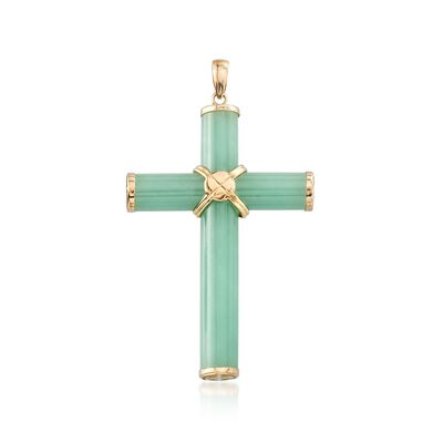 Green Jade Cross Pendant With 14kt Yellow Gold, , default