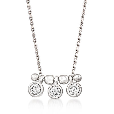 .50 ct. t.w. Bezel-Set Diamond Necklace in 18kt White Gold