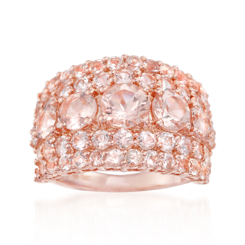 4.10 ct. t.w. Morganite Ring in 14kt Rose Gold Over Sterling | Ross ...