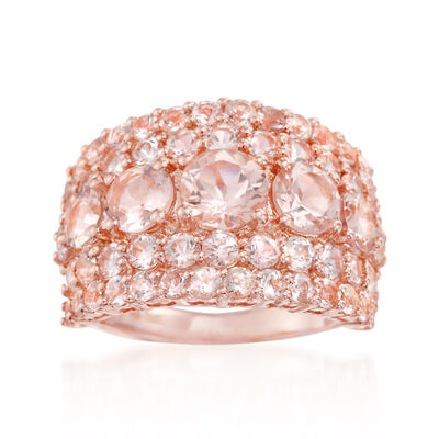 4.10 ct. t.w. Morganite Ring in 14kt Rose Gold Over Sterling, , default