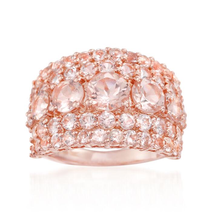 4.10 ct. t.w. Morganite Ring in 18kt Rose Gold Over Sterling, , default