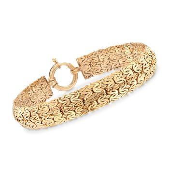 18kt Gold Over Sterling Wide Byzantine Bracelet, , default