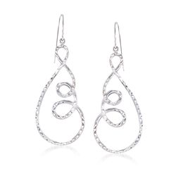 Sterling Silver Diamond-Cut Open Spiral Drop Earrings, , default