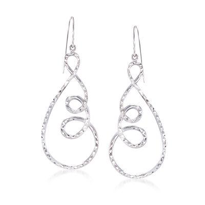 Sterling Silver Diamond-Cut Open Spiral Drop Earrings, , default