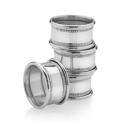 Empire Set of 4 Pewter Beaded Napkin Rings