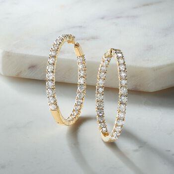 """10.00 ct. t.w. Diamond Inside-Outside Hoop Earrings in 14kt Yellow Gold. 1 5/8"""""""