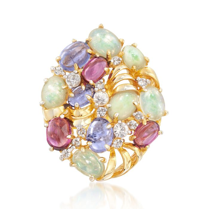 Ethiopian Opal and 6.20 ct. t.w. Multi-Stone Ring in 18kt Gold Over Sterling