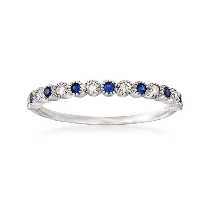 .13 ct. t.w. Diamond and .10 ct. t.w. Sapphire Ring in 14kt White Gold, , default