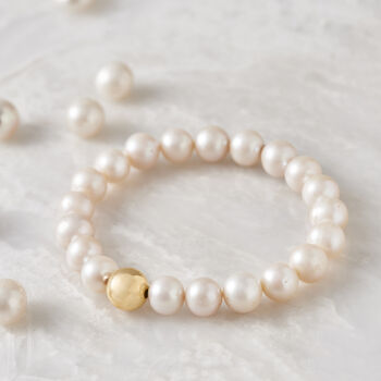 9-9.5mm Cultured Pearl and 14kt Yellow Gold Bead Stretch Bracelet, , default