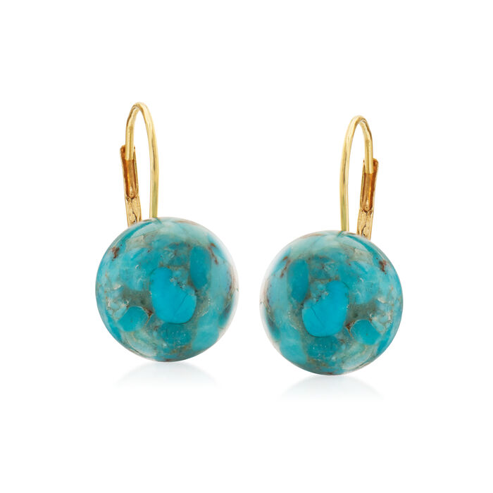 Button Turquoise Drop Earrings in 14kt Yellow Gold