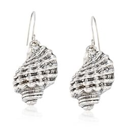 Sterling Silver Seashell Drop Earrings, , default