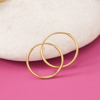 "14kt Yellow Gold Endless Hoop Earrings. 1/2"""