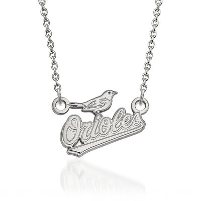"Sterling Silver MLB Baltimore Orioles Pendant Necklace. 18"", , default"