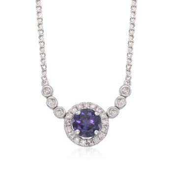 """.45 Carat Amethyst and .15 ct. t.w. Diamond Necklace in 14kt White Gold. 18"""", , default"""