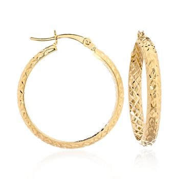 "14kt Yellow Gold Quilted Hoop Earrings. 1"", , default"