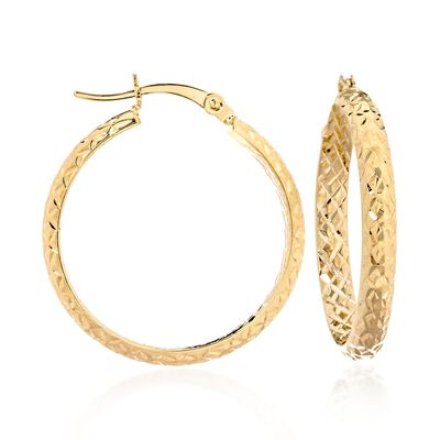 14kt Yellow Gold Quilted Hoop Earrings, , default