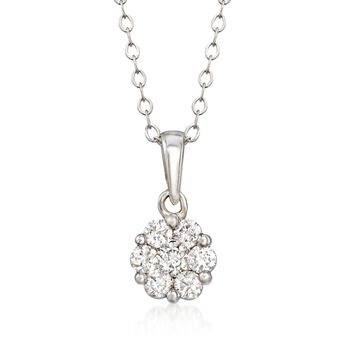".34 ct. t.w. Diamond Floral Cluster Pendant Necklace in 14kt White Gold. 18"", , default"