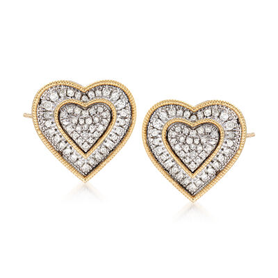 .50 ct. t.w. Diamond Heart Earrings in Sterling Silver and 14kt Yellow Gold, , default