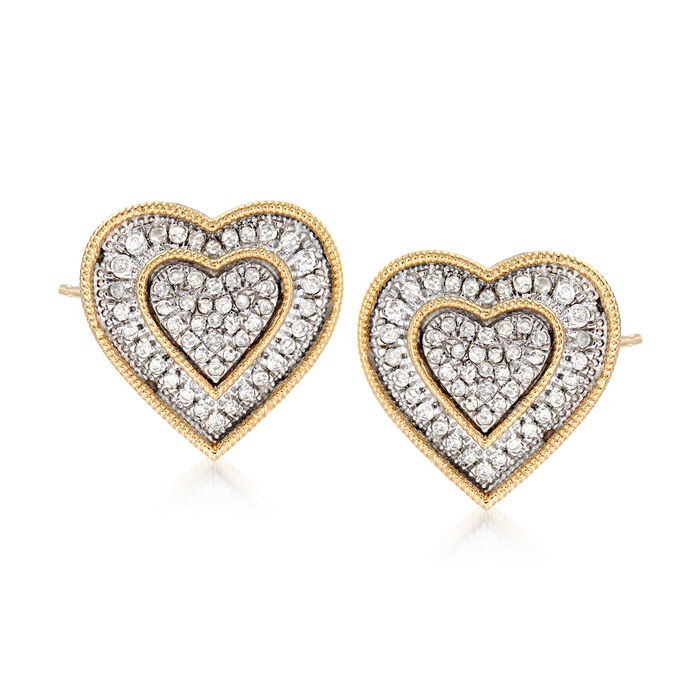 .50 ct. t.w. Diamond Heart Earrings in Sterling Silver and 14kt Yellow Gold