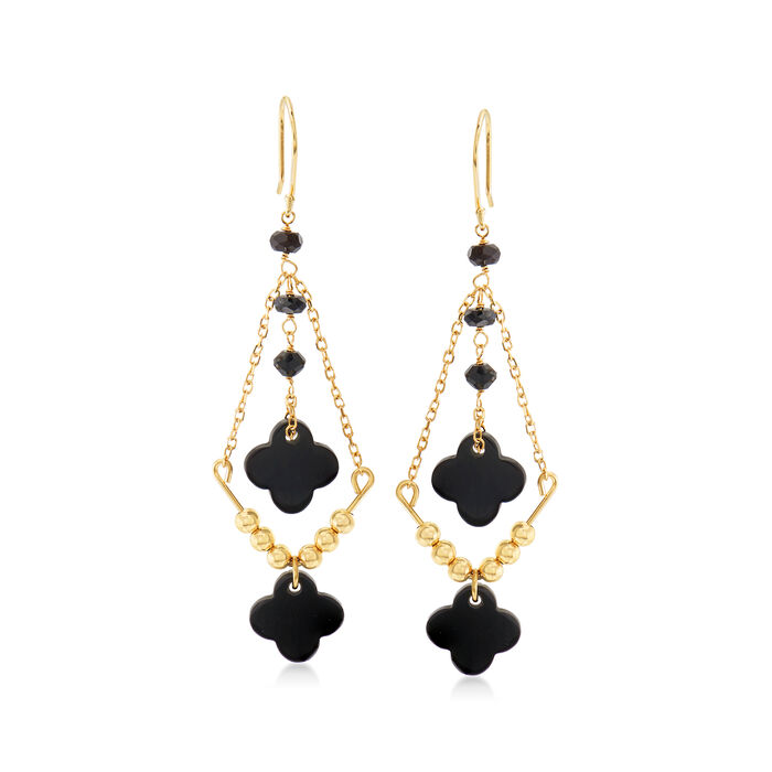 Onyx and 1.70 ct. t.w. Black Spinel Chandelier Earrings in 14kt Yellow Gold