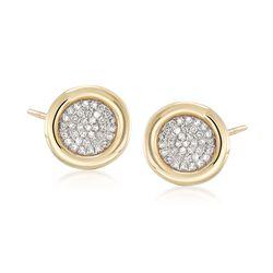 .21 ct. t.w. Bezel-Set Pave Diamond Earrings in 14kt Yellow Gold, , default