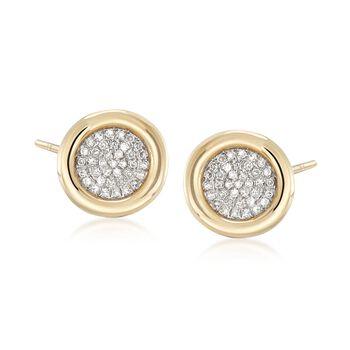.21 ct. t.w. Bezel-Set Pave Diamond Earrings in 14kt Yellow Gold , , default