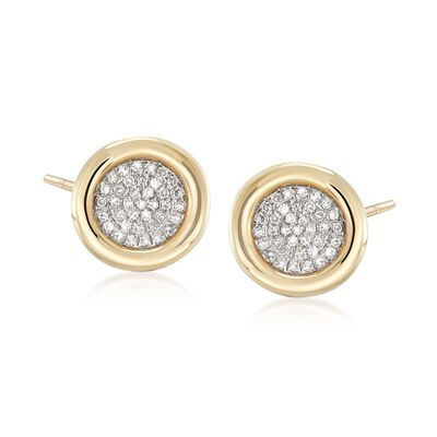 .21 ct. t.w. Bezel-Set Pave Diamond Earrings in 14kt Yellow Gold, , default