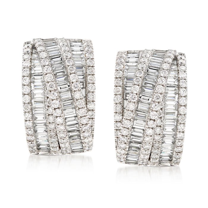 5.20 ct. t.w. Diamond Crisscross Drop Earrings in 14kt White Gold