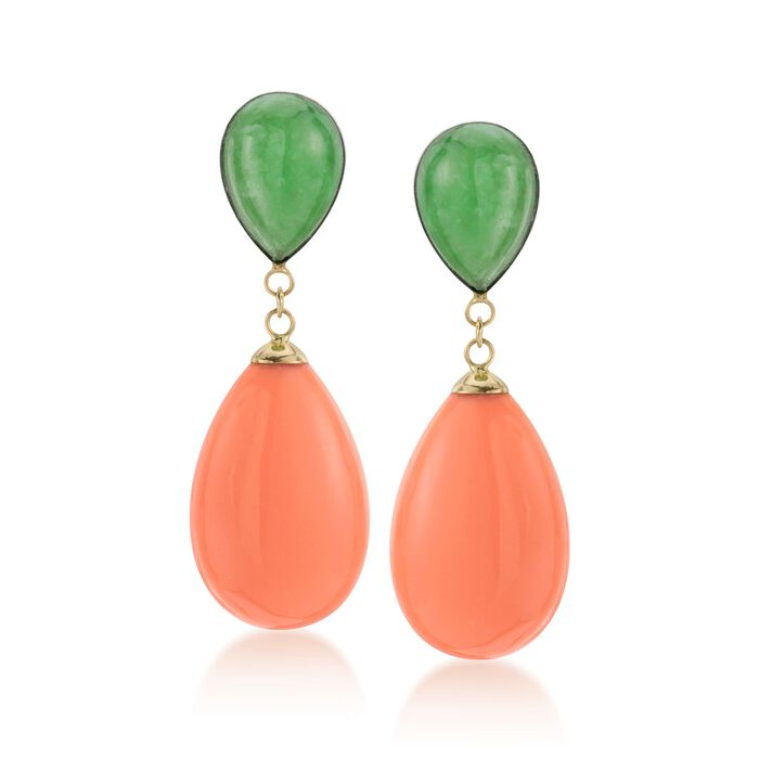 Green Jade and Coral Teardrop Earrings in 14kt Yellow Gold