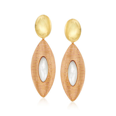 25x10mm Mother-Of-Pearl Drop Earrings in 18kt Yellow Gold, , default